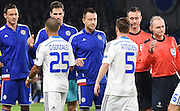 John Terry with the brave face as his leads Chelsea during the Champions League group stage match between Chelsea and Dynamo Kiev at Stamford Bridge, London, England on 4 November 2015. Photo by Michael Hulf.