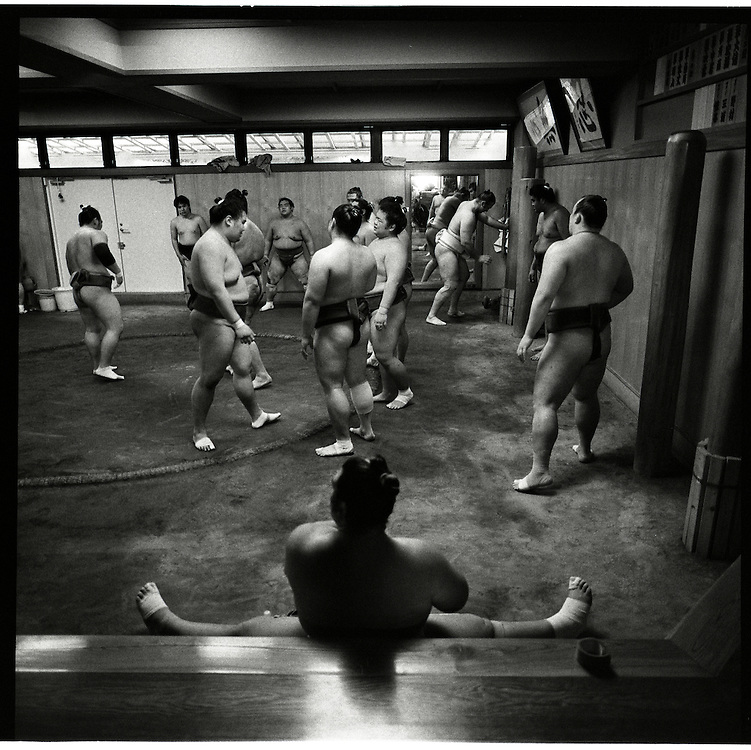.Morning  workout session in the Sado Gatake stable, 30 minutes west of Tokyo, .