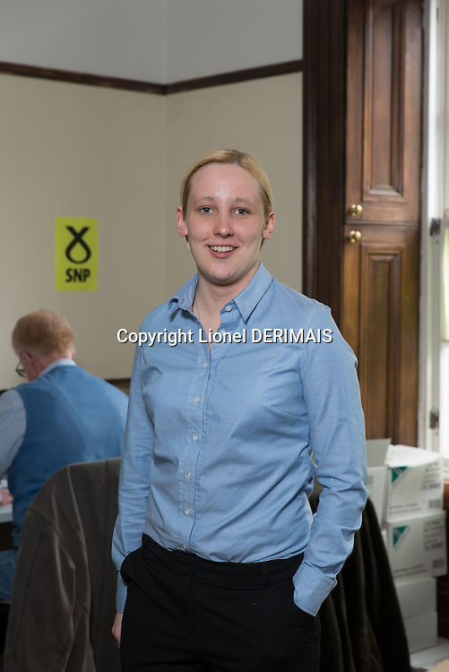 Mhairi Black, SNP candidate for Paisley and Renfrewshire South, Scotland photographed at her party headquarters.