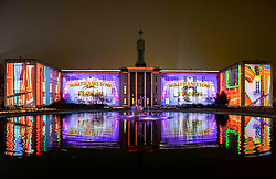 © Licensed to London News Pictures.  10/01/2019.LONDON UK. Waltham Forest Town Hall projected with the neon of the Walthamstow Dog track,Part of this weekends launch of Welcome to the Forest, the first event as part of Waltham Forest London Borough of Culture 2019 year.<br /> Photo credit: Andrew Baker/LNP