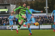 Forest Green Rovers Christian Doidge(9) attempts a shot at goal during the EFL Sky Bet League 2 match between Forest Green Rovers and Coventry City at the New Lawn, Forest Green, United Kingdom on 3 February 2018. Picture by Shane Healey.