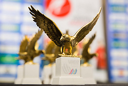 Small replica of Eagle, trophy of Four Hills tournament during press conference of Slovenian Ski jumping team after World Cup competitions in Vikersund, on February 16, 2016 in Maximarket, Ljubljana, Slovenia. Photo by Vid Ponikvar / Sportida
