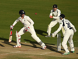 Durham's Keaton Jennings watches the ball almost hit his stumps - Photo mandatory by-line: Robbie Stephenson/JMP - Mobile: 07966 386802 - 03/05/2015 - SPORT - Football - London - Lords  - Middlesex CCC v Durham CCC - County Championship Division One