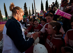 Polona Hercog with fans after Slovenia defeated Canada 3-2 during the second day of the tennis Fed Cup match between Slovenia and Canada at Bonifika, on April 17, 2011 in Koper, Slovenia.  (Photo by Vid Ponikvar / Sportida)
