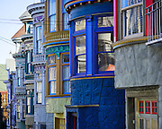 Victorian Architecture in Haight Ashbury, San Francisco, Central Avenue & Haight.