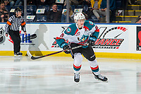 KELOWNA, CANADA - FEBRUARY 2: Kaedan Korczak #6 of the Kelowna Rockets skates against the Kamloops Blazers on February 2, 2019 at Prospera Place in Kelowna, British Columbia, Canada.  (Photo by Marissa Baecker/Shoot the Breeze)