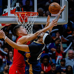 Jan 12, 2018; New Orleans, LA, USA; New Orleans Pelicans forward Anthony Davis (23) is fouled by Portland Trail Blazers center Zach Collins (33) during the second half at the Smoothie King Center. The Pelicans defeated the Trail Blazers 119-113. Mandatory Credit: Derick E. Hingle-USA TODAY Sports