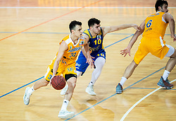 Zan Mark Sisko of Sixt Primorska vs Tjaz Rotar of Hopsi Polzela during basketball match between KK Sixt Primorska and KK Hopsi Polzela in final of Spar Cup 2018/19, on February 17, 2019 in Arena Bonifika, Koper / Capodistria, Slovenia. Photo by Vid Ponikvar / Sportida