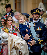 rince Gabriel's christening at Drottningholm Palace Chapel King Carl Gustav , The Queen Silvia ,