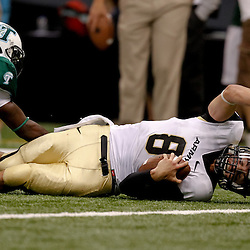 October 9, 2010; New Orleans, LA, USA;  Army Black Knights quarterback Trent Steelman (8) is tackled at the goal line by Tulane Green Wave linebacker Dominique Robertson (36) during the first half at the Louisiana Superdome.  Mandatory Credit: Derick E. Hingle