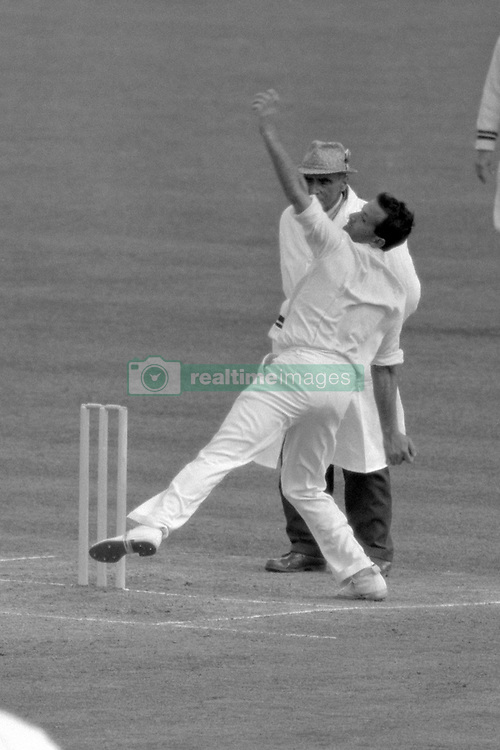 Fine overhead bowling action from England's Basil D'Oliveira during the second day of the test match against the West Indies.