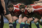 The Lions front row (L-R) Julian White, Shane Byrne and Gethin Jenkins prepare to pack down during the first test between the All Blacks and the British and Irish Lions at Jade Stadium, Christchurch, New Zealand, on Saturday 25 June, 2005. The All Blacks won the match 21-3. Photo: Fotosport/PHOTOSPORT. **NZ USE ONLY**<br />