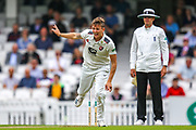 Wicket! Harry Podmore of Kent bowls out Mark Stoneman of Surrey during the Specsavers County Champ Div 1 match between Surrey County Cricket Club and Kent County Cricket Club at the Kia Oval, Kennington, United Kingdom on 7 July 2019.