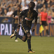 Philadelphia Union Attacker C.J. SAPONG (17) run off the field in the second half of a Major League Soccer match between the Philadelphia Union and Columbus Crew SC Saturday, July. 26, 2017, at Talen Energy Stadium in Chester, PA.