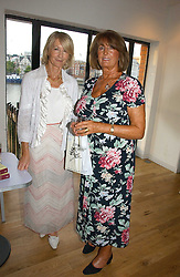 Left to right, SANDRA HOWARD and LADY ANNABEL GOLDSMITH at a party to celebrate the publication of Glass Houses by Sandra Howard held at Tamesa, Oxo Tower Wharf, Barge House Street, London SE1 on 5th September 2006.<br />