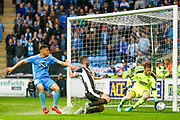 Notts County goalkeeper Adam Collin (1)  saves in the rain at the near post during the EFL Sky Bet League 2 match between Coventry City and Notts County at the Ricoh Arena, Coventry, England on 12 May 2018. Picture by Simon Davies.