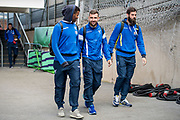 Crystal Palace forward Fraizer Campbell (9), Crystal Palace midfielder James McArthur (18) and Joe Ledley before the Premier League match between Crystal Palace and Tottenham Hotspur at Selhurst Park, London, England on 26 April 2017. Photo by Sebastian Frej.