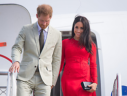 The Duke and Duchess of Sussex arrive at Fua'amotu Airport, Tonga, on day one of the royal couple's visit to Tonga.
