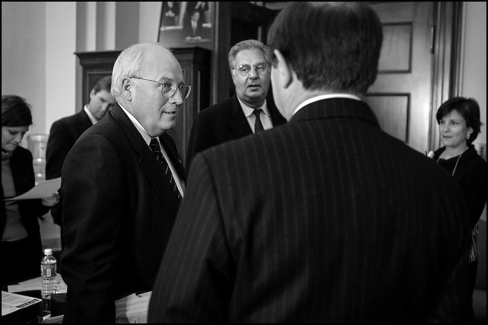Vice President Dick Cheney talks to Rep. Tom Delay as Rep. Dick Armey looks on, just before going into a meeting with Speaker Hastert and other Republican House Leaders.  10/2/01..©PF BENTLEY/PFPIX.com