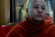 Portrait of Ashin Wirathu as he discusses the Rohinghya situation in Rakhine state Myanmar. Maesoeyin Monastery. 25TH November 2016