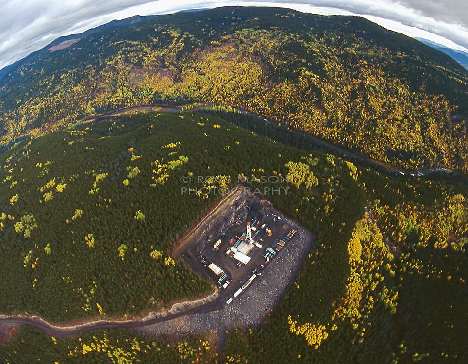 Aerial photograph of a drilling rig outside Fort St.John,B.C.,Canada