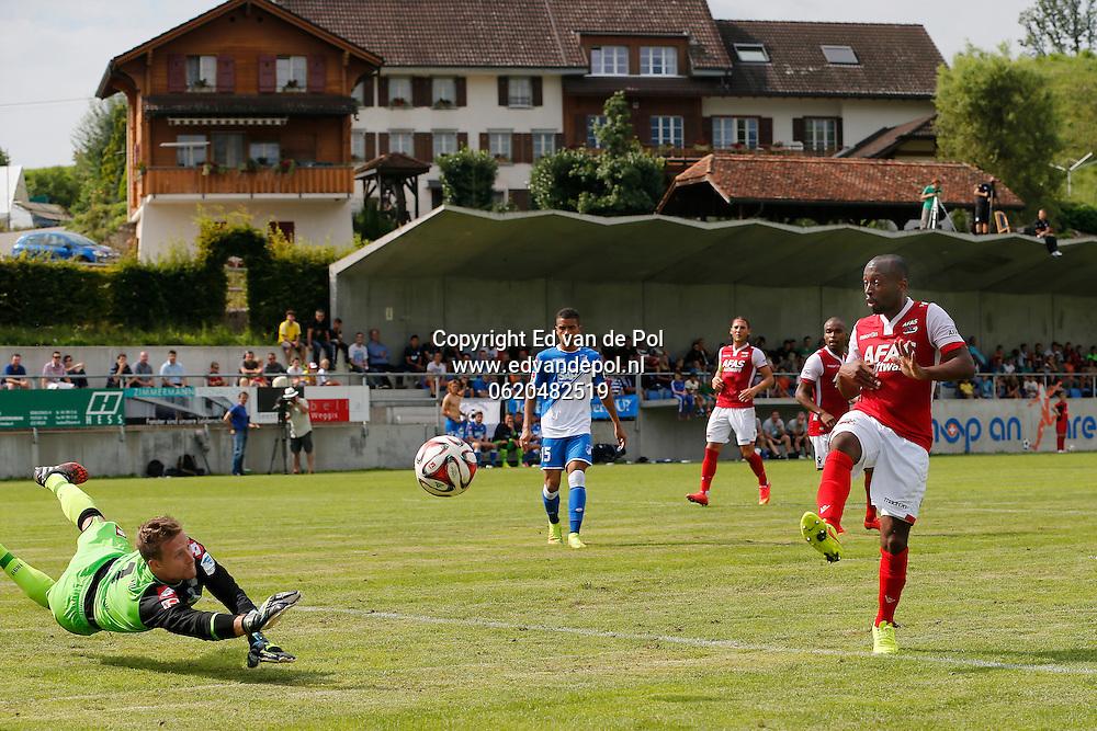 WEGGIS - 31-07-2014 - Hoffenheim - AZ,  Thermoplan Arena, oefenwedstrijd, 3-0, AZ speler Willie Overtoom (r), Oliver Baumann (l).