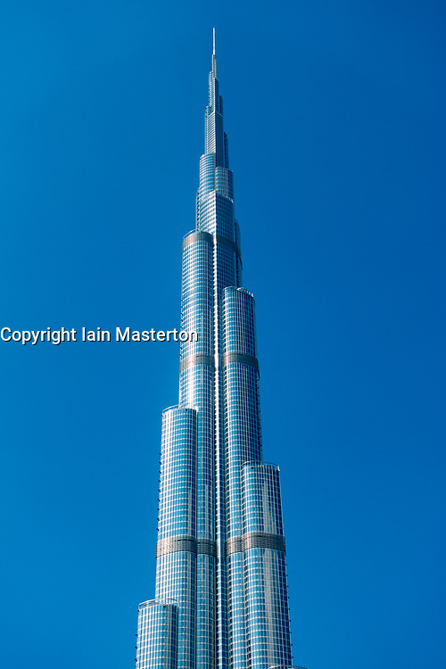 Detail of facade of Burj Khalifa skyscraper in Dubai, United Arab Emirates, UAE