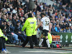 Derby Stephen Warnock, Leaves the Pitch after been Given Red Card, Derby County v Reading, FA Cup 5th Round, The Ipro Stadium, Saturday 14th Febuary 2015