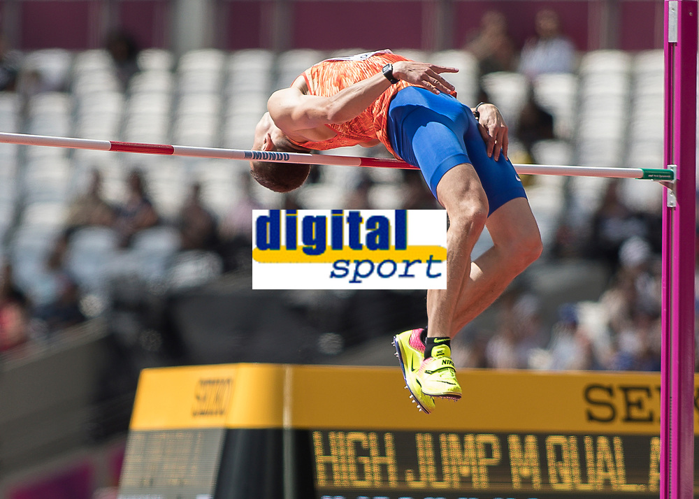 Athletics - 2017 IAAF London World Athletics Championships - Day Eight, Morning Session<br /> <br /> Ilya Ivanyuk (Authorised Neutral Athlete) clears  the high bar at the London Stadium<br /> <br /> COLORSPORT/DANIEL BEARHAM