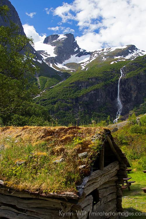 Europe, Norway, Olden. Jostedalsbreen National Park cabin.