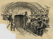 Labourers waiting at airlock to start a 7-hour shift tunnelling under London, 1890.