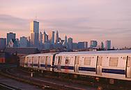 Subway in Brooklyn looking at Manhattan Skyline, Twin Towers,  New York City, New York, USA