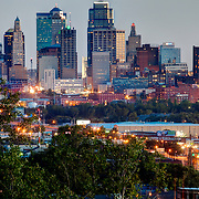 View of downtown Kansas City, Missouri skyline at dusk from Waterworks Park, Sunday, September 21, 2014.