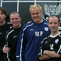 St Johnstone players back in pre-season training today, pictured new signings from left, Craig Nelson, Paul Lovering, Mixu Paatelainen and Brian McLaughlin <br />
