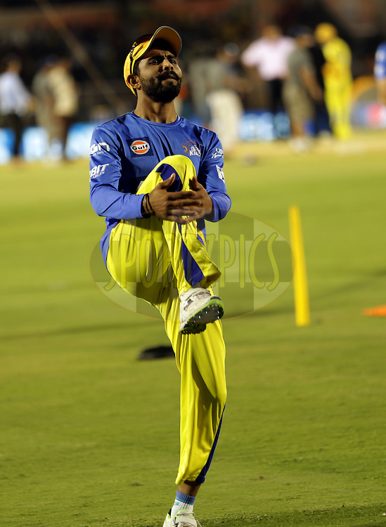 Ravindra Jadeja of The Chennai Superkings before the eliminator match of the Pepsi Indian Premier League Season 2014 between the Chennai Superkings and the Mumbai Indians held at the Brabourne Stadium, Mumbai, India on the 28th May  2014<br /> <br /> Photo by Sandeep Shetty / IPL / SPORTZPICS<br /> <br /> <br /> <br /> Image use subject to terms and conditions which can be found here:  http://sportzpics.photoshelter.com/gallery/Pepsi-IPL-Image-terms-and-conditions/G00004VW1IVJ.gB0/C0000TScjhBM6ikg