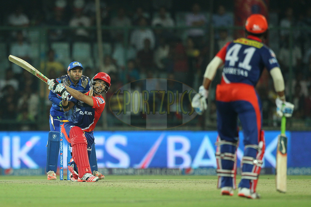 Jean-Paul Duminy captain of the Delhi Daredevils in action during match 21 of the Pepsi IPL 2015 (Indian Premier League) between The Delhi Daredevils and The Mumbai Indians held at the Ferozeshah Kotla stadium in Delhi, India on the 23rd April 2015.<br /> <br /> Photo by:  Deepak Malik / SPORTZPICS / IPL