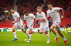 STOKE-ON-TRENT, ENGLAND - Saturday, January 25, 2020: Stoke City's (L-R) Sam Vokes, Joe Allen, Sam Clucas and Danny Batth during the pre-match warm-up before the Football League Championship match between Stoke City FC and Swansea City FC at the Britannia Stadium. (Pic by David Rawcliffe/Propaganda)