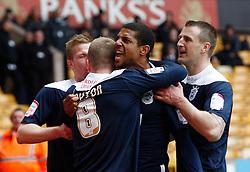 Huddersfield's Jermaine Beckford celebrates scoring the third goal- Photo mandatory by-line: Matt Bunn/JMP  - Tel: Mobile:07966 386802 13/04/2013 - Wolverhampton Wanderers v Huddersfield Town - SPORT - FOOTBALL - Championship -  Wolverhampton - Molinuex-