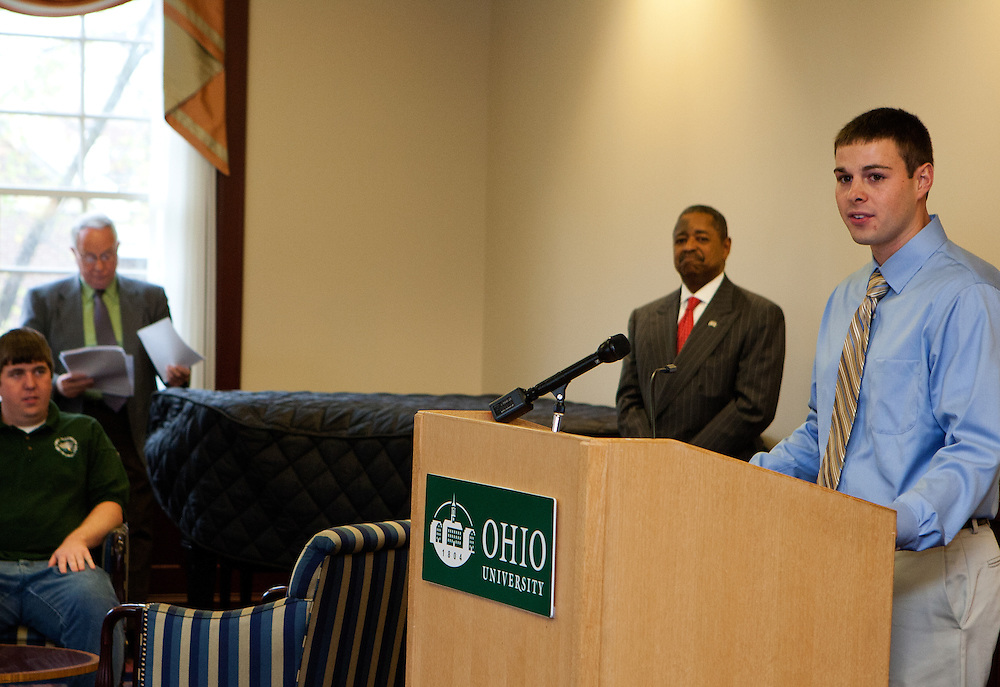 Storm Ready designation for Ohio University...Student Kyle Clem, President of the student chapter of The American Meteorological Society, speaks at the Storm Ready designation ceremony.