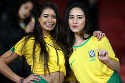 Brazil fans in the stands during the International Friendly match at the Emirates Stadium, London. PRESS ASSOCIATION Photo. Picture date: Friday November 16, 2018. See PA story SOCCER Brazil. Photo credit should read: Steven Paston/PA Wire