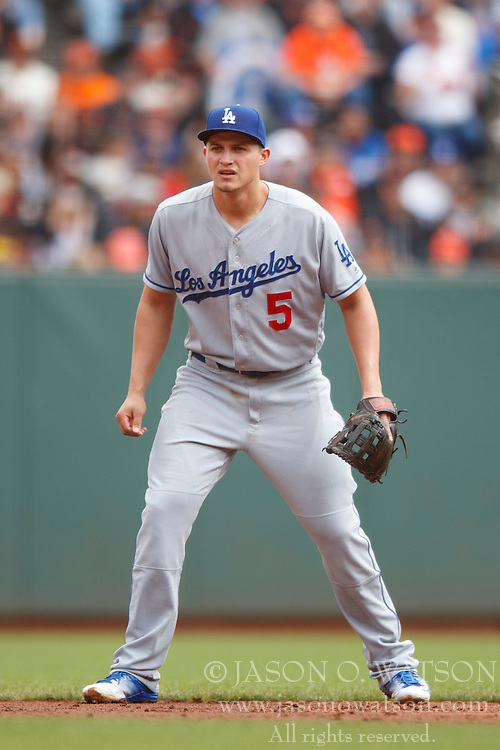 SAN FRANCISCO, CA - OCTOBER 02: Corey Seager #5 of the Los Angeles Dodgers stands on the field against the San Francisco Giants during the second inning at AT&T Park on October 2, 2016 in San Francisco, California. The San Francisco Giants defeated the Los Angeles Dodgers 7-1. (Photo by Jason O. Watson/Getty Images) *** Local Caption *** Corey Seager