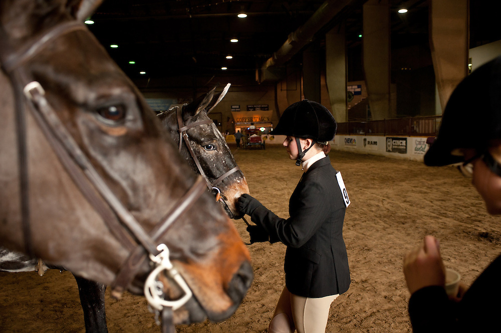 Alyson Hurley, 16, prepares for the Junior Mule Hunter Class competition with her cousin Alanna Ivers, right, at the National Western Stock Show in Denver.