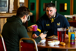 Kieran Brookes of Wasps has lunch during training ahead of the European Challenge Cup fixture against SU Agen - Mandatory by-line: Robbie Stephenson/JMP - 18/11/2019 - RUGBY - Broadstreet Rugby Football Club - Coventry , Warwickshire - Wasps Training Session