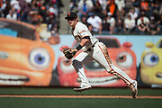 San Francisco Giants third baseman Christian Arroyo (22) chases down a ground ball against the Los Angeles Dodgers at AT&T Park in San Francisco, California, on April 27, 2017. (Stan Olszewski/Special to S.F. Examiner)