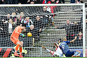 Charlton Athletic striker Josh Magennis (9) scores a goal from open play 0-2 during the EFL Sky Bet League 1 match between Milton Keynes Dons and Charlton Athletic at stadium:mk, Milton Keynes, England on 17 February 2018. Picture by Dennis Goodwin.