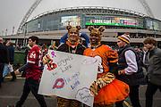 Cincinnati Bengals fans outside Wembley, during the International Series match between Washington Redskins and Cincinnati Bengals at Wembley Stadium, London, England on 30 October 2016. Photo by Jason Brown.