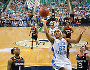 North Carolina senior Cetera DeGraffenreid finished with 14 points in their 83 - 57 blowout of Miami in the semifinals of the 2011 ACC Women's Basketball Tournament held at the Greensboro Coliseum in Greensboro, North Carolina.  (Photo by Mark W. Sutton)