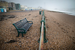 © Licensed to London News Pictures. 08/02/2016. Hove, UK. Storm Imogen forces beach shingle and seaweed onto the promenade at Hove. Photo credit: Peter Macdiarmid/LNP