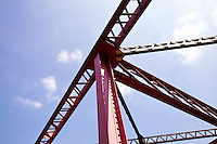Close up of red construction crane