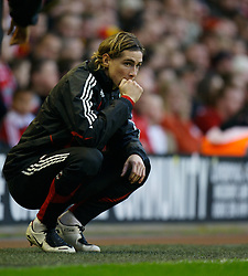 LIVERPOOL, ENGLAND - Saturday, January 26, 2008: Liverpool's unused substitute Fernando Torres during the FA Cup 4th Round match against Havant and Waterlooville at Anfield. (Photo by David Rawcliffe/Propaganda)